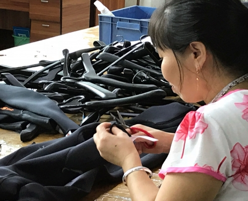 Making own brand wetsuits in the TWF Factory